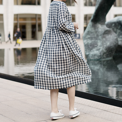 [LINEN 006] Gathered Dress : GINGHAM